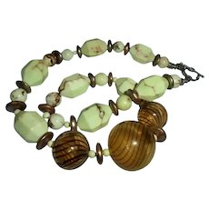 Latticino Glass & Pistacchio Green Marbled Stone Chunky Beaded Sterling Silver Necklace