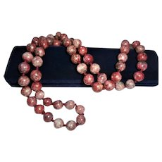 "Gorgeous 12mm Rhodochrosite Hand-Knotted Beaded Necklace 32"" inch Sautoir"
