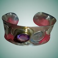 High-End Sterling Silver Amethyst Mid-Century Modernist Raised Relief Cuff Bracelet