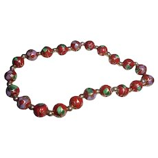 10K Gold Red Cloisonne Beaded Bracelet Hand Knotted 10K Spacer Beads