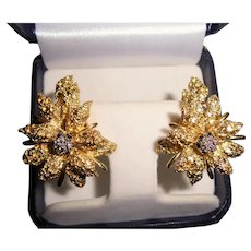 18K Gold Diamond Black Starr & Frost Couture Poinsettia Omega Back Earrings Christmas Holiday