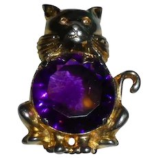 Rare 1940's Cat Figural Fur Clip Brooch Faceted Amethyst Colored Glass Center