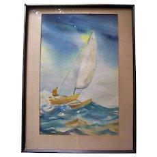 Beautiful Catamaran on Ocean Waves Original Vintage Watercolor Seascape Painting Signed R. Parrish