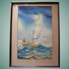 Beautiful Catamaran on Ocean Waves Original Vintage Watercolor Seascape Painting Signed R. Parrish
