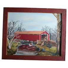 Conewago Creek Pennsylvania 1970s Oil Painting Red Covered Bridge Brushtown York