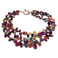 Festive! Hi-End Moghul Gripoix Poured Glass Triple Strand Necklace with Toggle Clasp Red, Green, Yellow, Violet