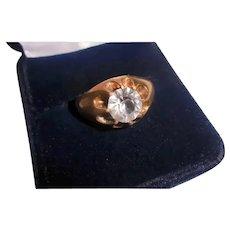 Antique 14K Rose Gold Unisex Solitaire Paste Ring Belcher Setting Size 7