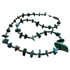 Vintage Sterling Silver & Turquoise Nugget Necklace