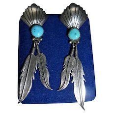 Navajo Sterling Silver Turquoise Dangling Feather Pierced Earrings
