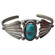 Gorgeous Navajo Sterling Silver Turquoise Cuff Bracelet