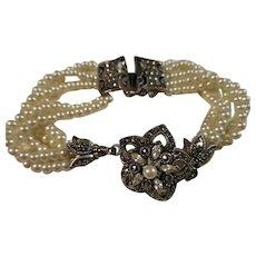 Judith Jack Sterling Silver Marcasite Cultured Pearl Bracelet