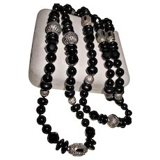 Spectacular Onyx & Sterling Silver Long Length Beaded Necklace