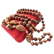 10k Gold Hand-Knotted Jasper Beaded Necklace Variegated 7mm to 21mm