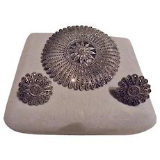 Sterling Silver Marcasite Art Deco Era Geometric Flower Brooch & Screwback Earrings Set