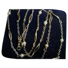 18K Gold European Cultured Seed Pearl Dainty Necklace