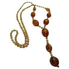 Huge Antique Czech Amber Glass Lavalier Necklace