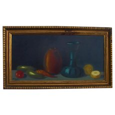 "Original Oil Painting Still Life Fruit 27"" Oblong Beautiful"