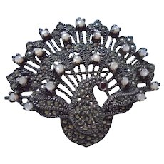 Sterling Silver Marcasite Cultured Pearl Peacock Brooch / Pendant