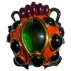 Ultra Rare Coro 3-D Ladybug Brooch Jelly Belly Enamel