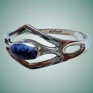 925 Mexico Sodalite Clamper Cuff Bangle Bracelet Sterling Silver