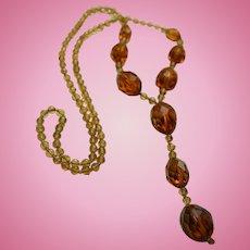 Antique Czech Amber Glass Lavalier Necklace