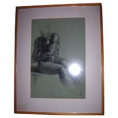 Listed Artist Richard Combes ROI Original 1993 Michaelangelo Nude Study Charcoal on Paper Drawing Painting