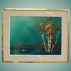 Vintage Enamel Painting White Birch Trees Blue Sky Signed R Bennett