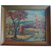 Vintage Autumn Fall Landscape Oil Painting Signed Decamp