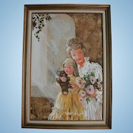 Lovely Mother Daughter & Teddy Bear Doll Mid Century Oil Painting Portrait Mother's Day
