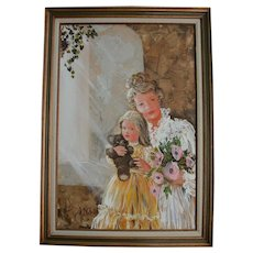 Lovely Mother Daughter & Teddy Bear Doll Mid Century Oil Painting Portrait