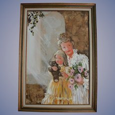 Beautiful Mother Daughter & Teddy Bear Doll Mid Century Oil Painting Portrait