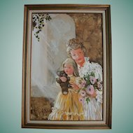 Mother's Day! Lovely Mother Daughter & Teddy Bear Doll Mid Century Oil Painting Portrait