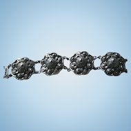 Silver-Plated Etruscan Style Chunky Link Bracelet