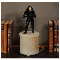 Italian Pirate Figural on Lighted Alabaster Base