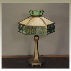 Cut Brass 12 Panel Slag Glass Lamp