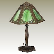 Lovely Mid-Size Art Nouveau Slag Glass Lamp