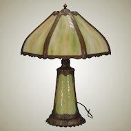 Large Slag Glass Lighted Base Lamp w/ Lotus Petal Base