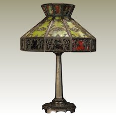 Dramatic Early Gothic 30 Panel Crowned Slag Glass Lamp