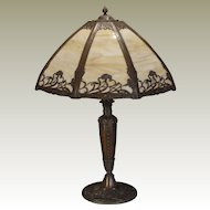 Large Art Nouveau Field Flowers Slag Glass Lamp