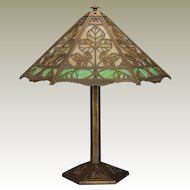 Splendid Very Large Bradley & Hubbard Arts & Crafts Triple Panel Slag Glass Leaf Lamp
