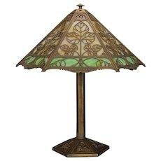 Splendid Very Large Bradley & Hubbard Arts & Crafts Triple Panel Slag Glass Leaf Lamp