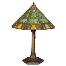Large Ravishing 27 Panel Gothic Slag Glass Lamp