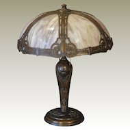 Gorgeous Regal Cartouche Slag Glass Lamp