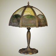 Ornate Double Panel Harp & Floral Slag Glass Lamp