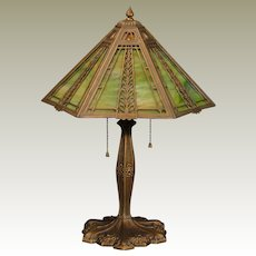 Lovely Miller Crossover Arts & Crafts, Art Nouveau Double Slag Glass Lamp