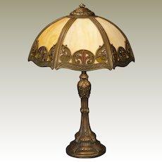 Ornate Fluer de Lis Obverse Painted Slag Glass Lamp
