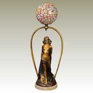 Unusual Signed Italian Art Deco Caped & Blindfolded Nude Figural Lamp w/ Millefiori Ball Shade