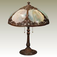 Lovely Art Nouveau Floral End of Day Slag Glass Lamp