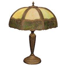 Large Fabulous Pittsburgh Lattice Design Slag Glass Lamp
