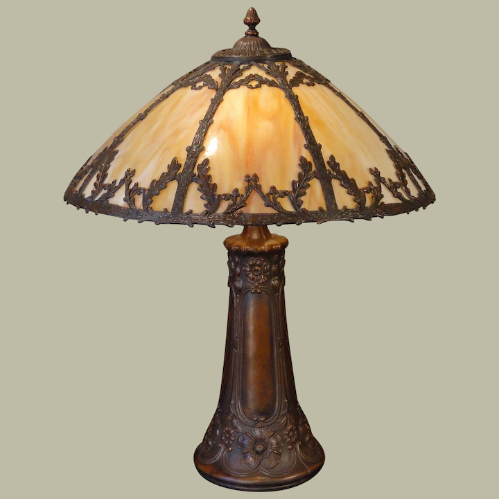Large Stunning Woodland Slag Glass Lamp W Opalescent Glass Shade
